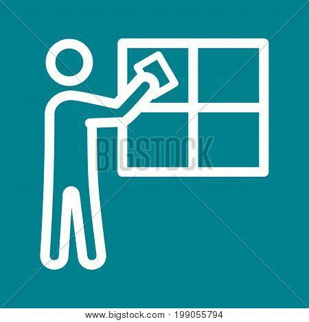 Window, cleaning, man icon vector image. Can also be used for Cleaning Services. Suitable for web apps, mobile apps and print media.