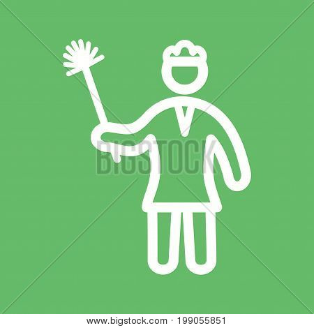 Dusting, woman, house icon vector image. Can also be used for Cleaning Services. Suitable for web apps, mobile apps and print media.
