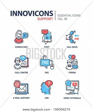 Technical Support - modern essential vector line design icons set. Consultant, chat, mobile device, hand, mouse, faq, phone, call center, forum, email, letter, laptop, head, question, video tutorial