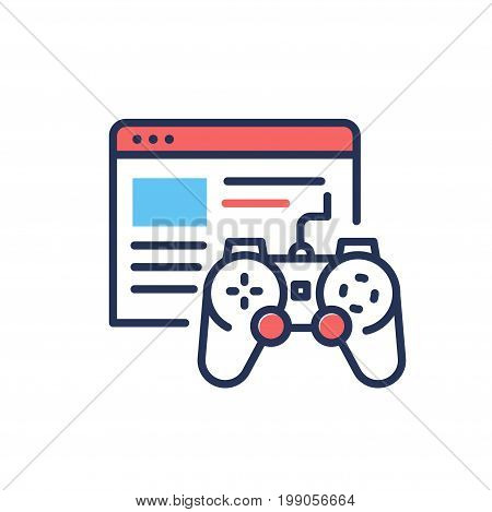 Browser Games - modern vector single line design icon. Image depicting red and blue color window of a video game connected to controller on white background. Use it for web site presentation