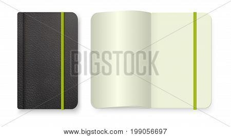 Realistic black notebook with green elastic band. Top view diary template. Vector notepad mockup. Closed diary and realistic blank magazine or book spread on white background.