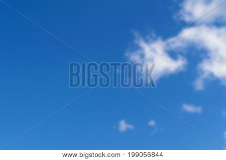 Unfocused background of blue sky and white clouds. Illustration for peace of mind.