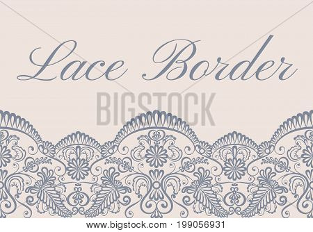Template of card with gray lace border on beige background