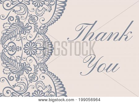 Thank you card with gray lace border on beige background