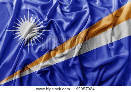 Ruffled waving Marshall Islands flag national close