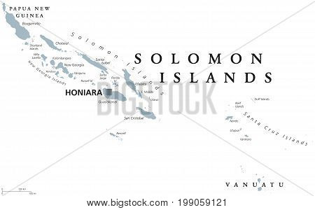 Solomon Islands political map with capital Honiara. English labeling. Sovereign country in Melanesia, Oceania. Gray illustration on white background. Vector.