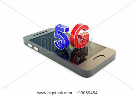 5G on the smartphone concept 3D illustration