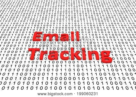 Email tracking in the form of binary code, 3D illustration