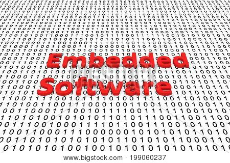 Embedded software in the form of binary code, 3D illustration
