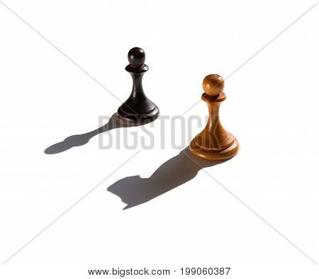 two chess pawns one casting a knight piece shadow concept of strength and aspirations