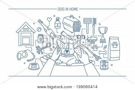Dog in home contour banner with pet toys, meds and puppy meals. Horizontal outline line art vector illustration