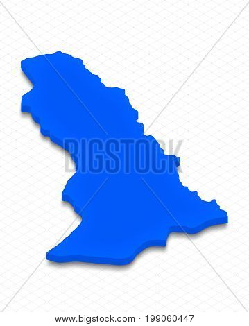 Map Of Abkhazia. 3D Isometric Perspective Illustration.