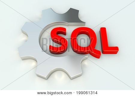 SQL conceptual wheel gear white background 3D illustration