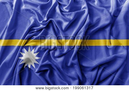 Ruffled waving Nauru flag national close up