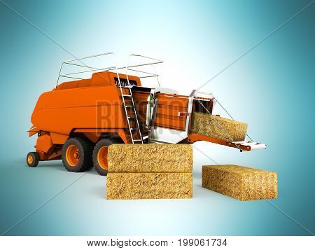 Press Baler Hay Bales Orange 3D Render On Blue Background