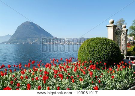 Lugano, Switzerland - View Of The Gulf From The Botanical Garden