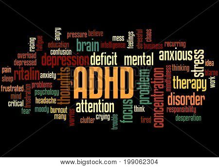 Adhd - Attention Deficit Hyperactivity Disorder, Word Cloud Concept 5