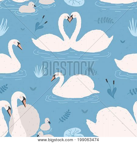 Seamless pattern with white swans. Singles and birds pairs with chicks. Swan s couples on blue background. Colorful vector illustration