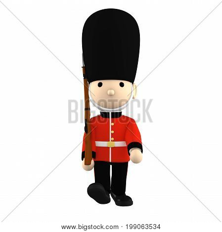 Queen's Guard in traditional uniform with gun walking, British soldiers on white, 3D illustration