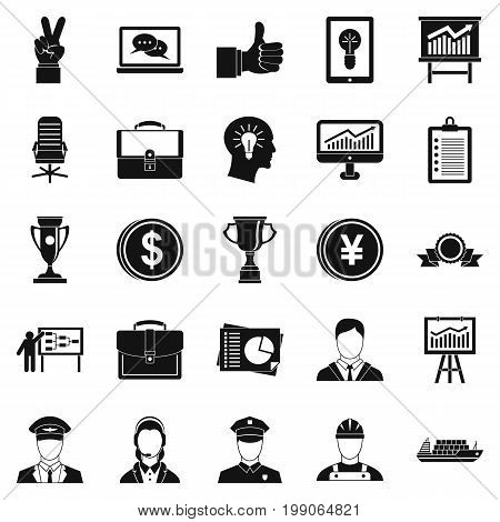 Principal icons set. Simple set of 25 principal vector icons for web isolated on white background