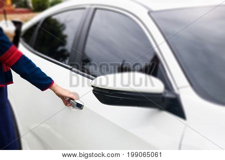 Mirror side of white modern car stock photo