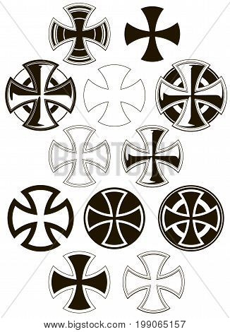 Black and white graphic different cross icons vector set