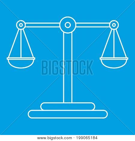 Classic scales icon blue outline style isolated vector illustration. Thin line sign