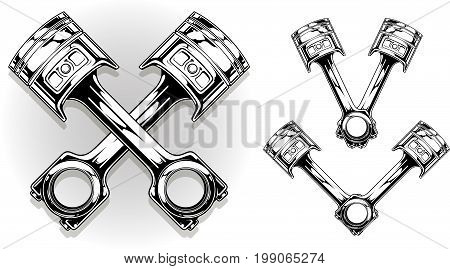 Detailed graphic black car engine piston on white background vector set