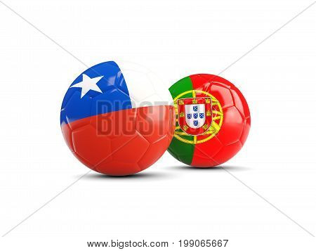Chile And Portugal Soccer Balls Isolated On White Background