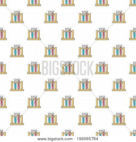 Medical test tubes in holder pattern in cartoon style. Seamless pattern vector illustration