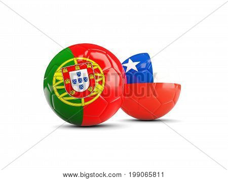 Portugal And Chile Soccer Balls Isolated On White Background