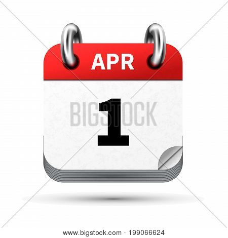 Bright realistic icon of calendar with 1st april date on white