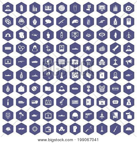100 war icons set in purple hexagon isolated vector illustration