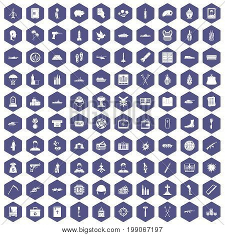100 war crimes icons set in purple hexagon isolated vector illustration