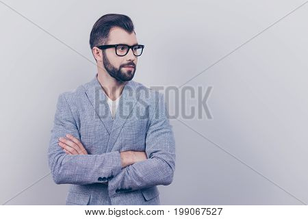Successful Young Brunet Bearded Stylish Guy Banker With In Formal Wear And Black Trendy Glasses Is S