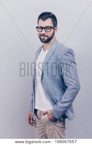 Young Successful Brunet Bearded Entrepreneur Lawyer In Casual Smart And Fashionable Black Eyewear Is