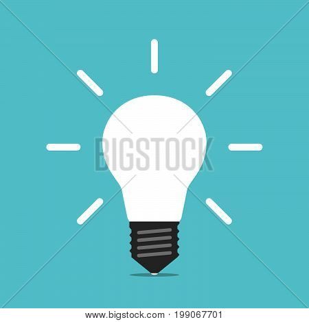 Bright white glowing light bulb on turquoise blue background. Energy, idea, creativity and moment of insight concept. Flat design. EPS 8 vector illustration, no transparency, no gradients