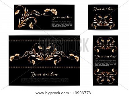 A set of banners of different sizes with a floral ornament of gold foil