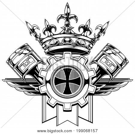 Black and white graphic coat of arms with crossed pistons royal diamond crown gear and wings vector