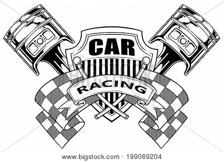 Black and white graphic coat of arms with crossed racing flag pistons and shield on white background vector