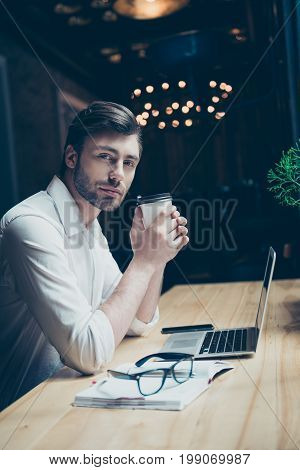 Beauty And Success Concept. Low Angle Photo Of Attractive Successful Young Freelancer, Relaxing, Hav