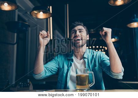 Goal! Cheerful Young Man Is Happy Because Of The Goal Of His Favourite Team. He Is Watching Game At