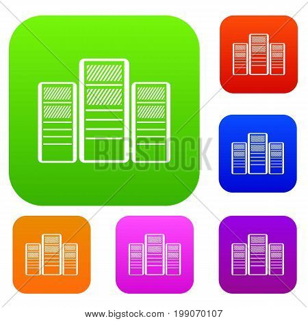 Database servers set icon in different colors isolated vector illustration. Premium collection