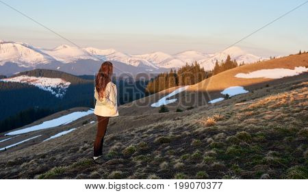 Shot Of A Woman Admiring The View Of Mountains While Hiking Copyspace Travel Travelling Tourism Acti