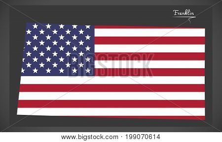 Franklin County Map Of Alabama Usa With American National Flag Illustration