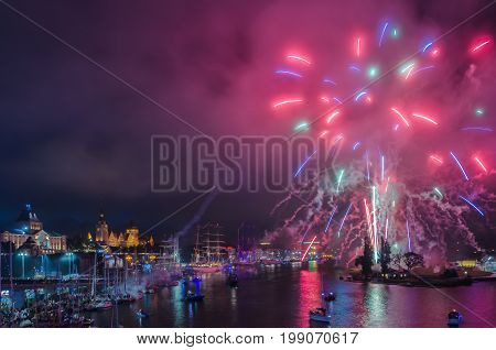 FIREWORKS - Show at the end of Tall Ships Races in Szczecin