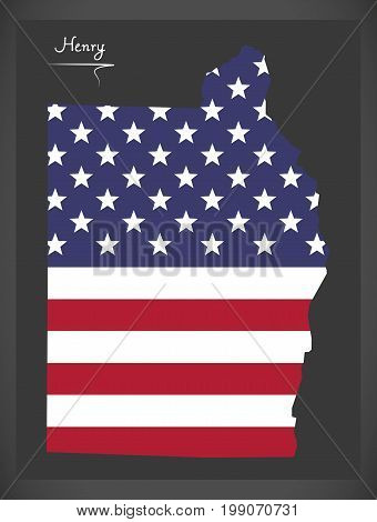 Henry County Map Of Alabama Usa With American National Flag Illustration