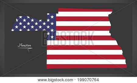 Houston County Map Of Alabama Usa With American National Flag Illustration