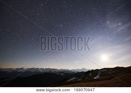 Night Sky With Stars Shining Above Mountain Peak Copyspace Outdoors Camping Travelling Nature Calami