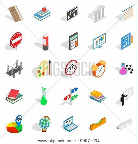 Teaching icons set. Isometric set of 25 teaching vector icons for web isolated on white background